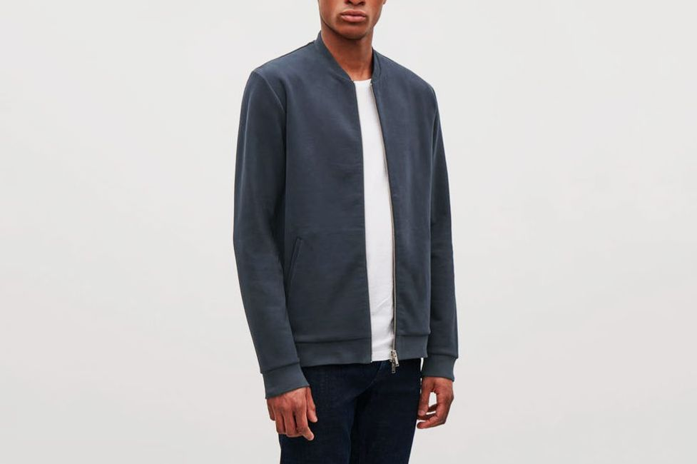 COS Zip-Up Jersey Bomber Jacket