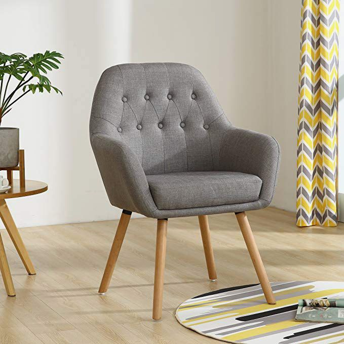 LSSBOUGHT Contemporary Button-Tufted Upholstered Accent Chair with Solid Wood Legs, Gray