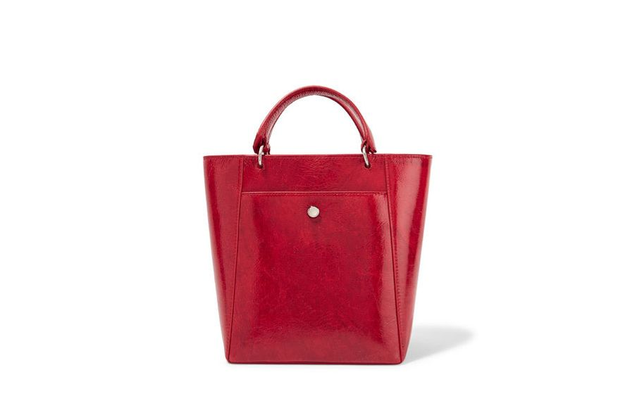 ELIZABETH AND JAMES Eloise small patent textured-leather tote