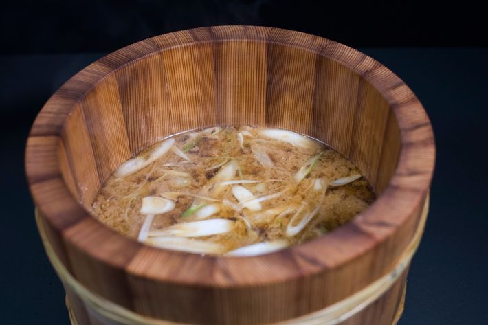 Ishiyaki Teisui Soup: miso soup with king crab and Japanese red snapper.