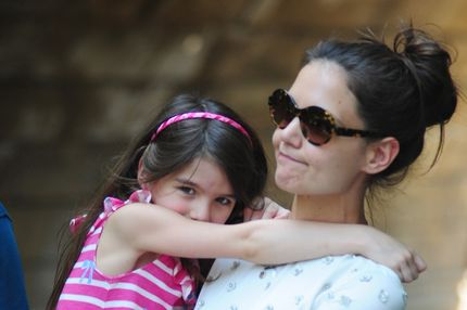 Katie Holmes and Suri Cruise are seen at the Central Park Zoo on July 11, 2012 in New York City.