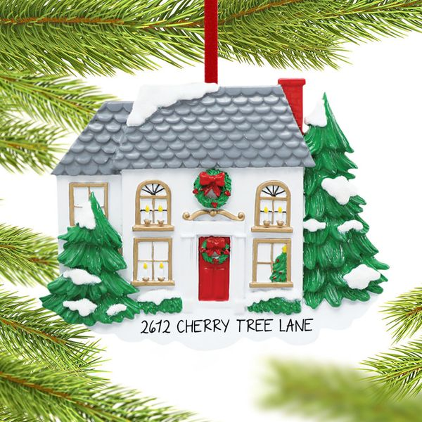 Ornament Shop Personalized White House With Pine Trees Christmas Ornament