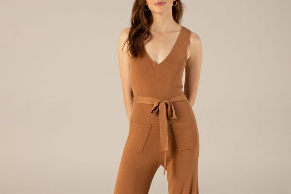 Ribbed Jumpsuit in Dark Ginger