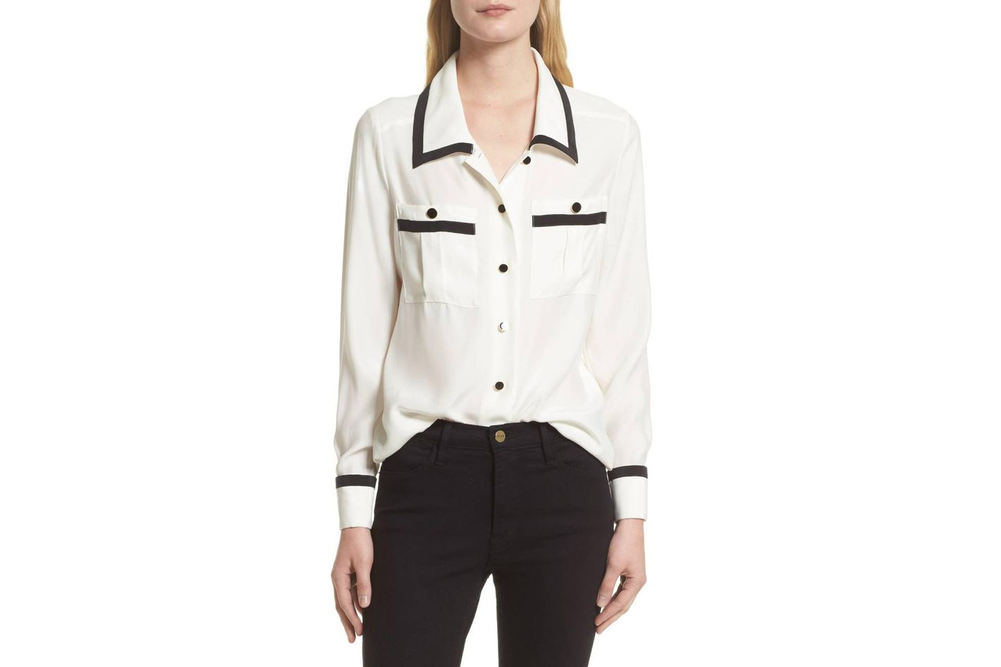 Frame Piped Double Pocket Silk Shirt