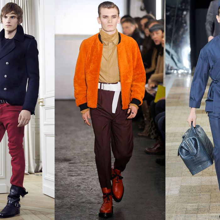From left: new menswear looks from Balmain, Phillip Lim, and Louis Vuitton.