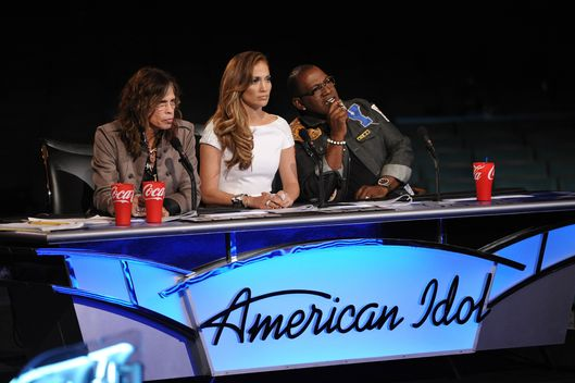 AMERICAN IDOL: Hollywood: L-R: Steven Tyler, Jennifer Lopez and Randy Jackson on AMERICAN IDOL airing Wednesday, Feb. 15 (8:00-10:00 PM ET/PT) on FOX.