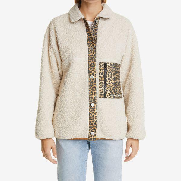 Sandy Liang Checkers Leopard Trim Fleece Jacket