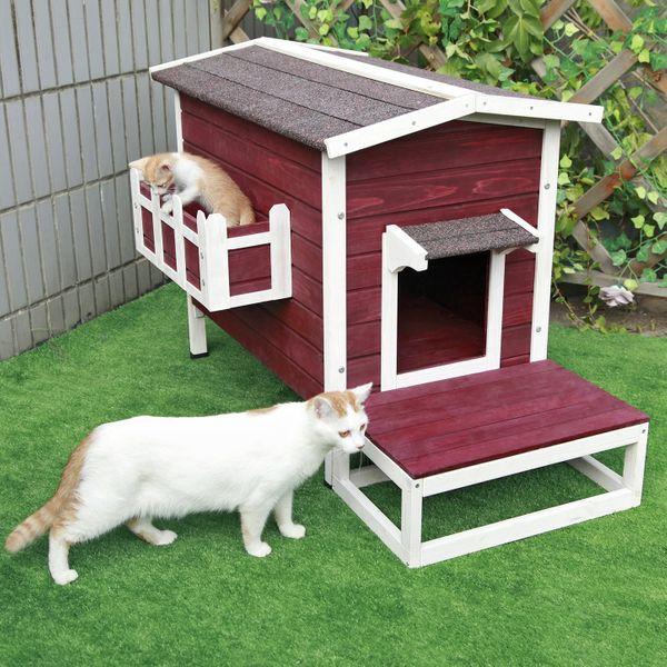 Petsfit Refugio para minino al aire libre / casa / condominio con escalera resistente a la intemperie