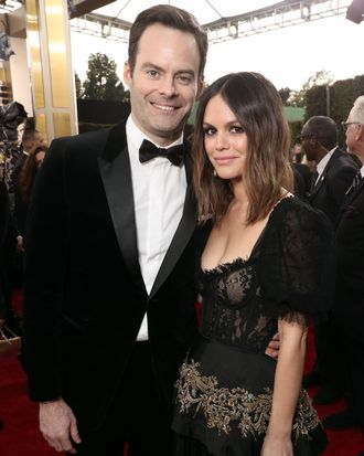 Rachel Bilson and Bill Hader on Golden Globes red carpet.