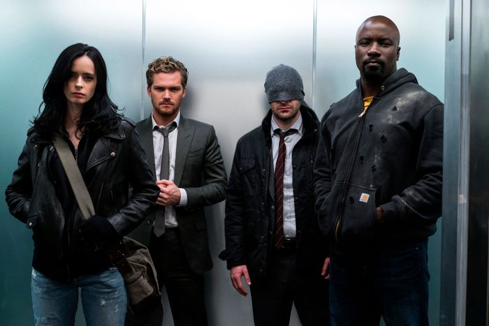 Krysten Ritter, Finn Jones, Charlie Cox, and Mike Colter in Marvel's The Defenders.