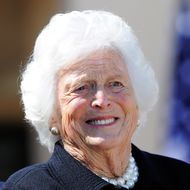 Former US First Lady Barbara Bush smiles during the George W. Bush Presidential Center dedication ceremony in Dallas, Texas, on April 25, 2013.