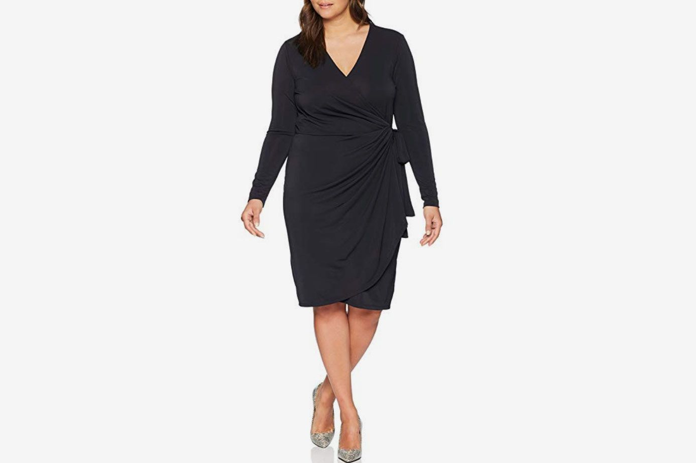 Lark & Ro Women's Plus Size Long Sleeve Wrap Dress