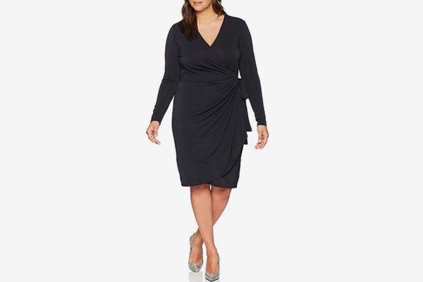 Lark & Ro Women's Plus Size Long Sleeve Wrap Dress
