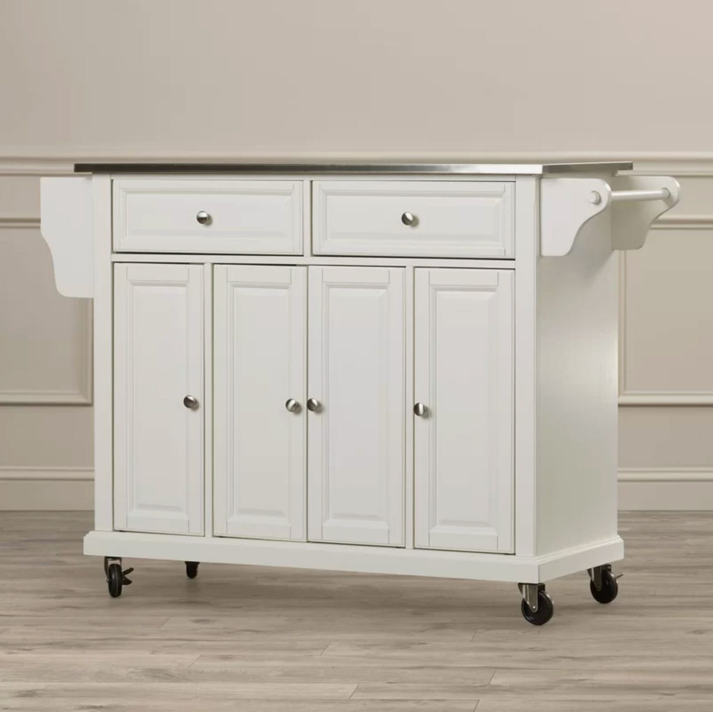 Darby Home Co. Pottstown Kitchen Island with Stainless Steel Top