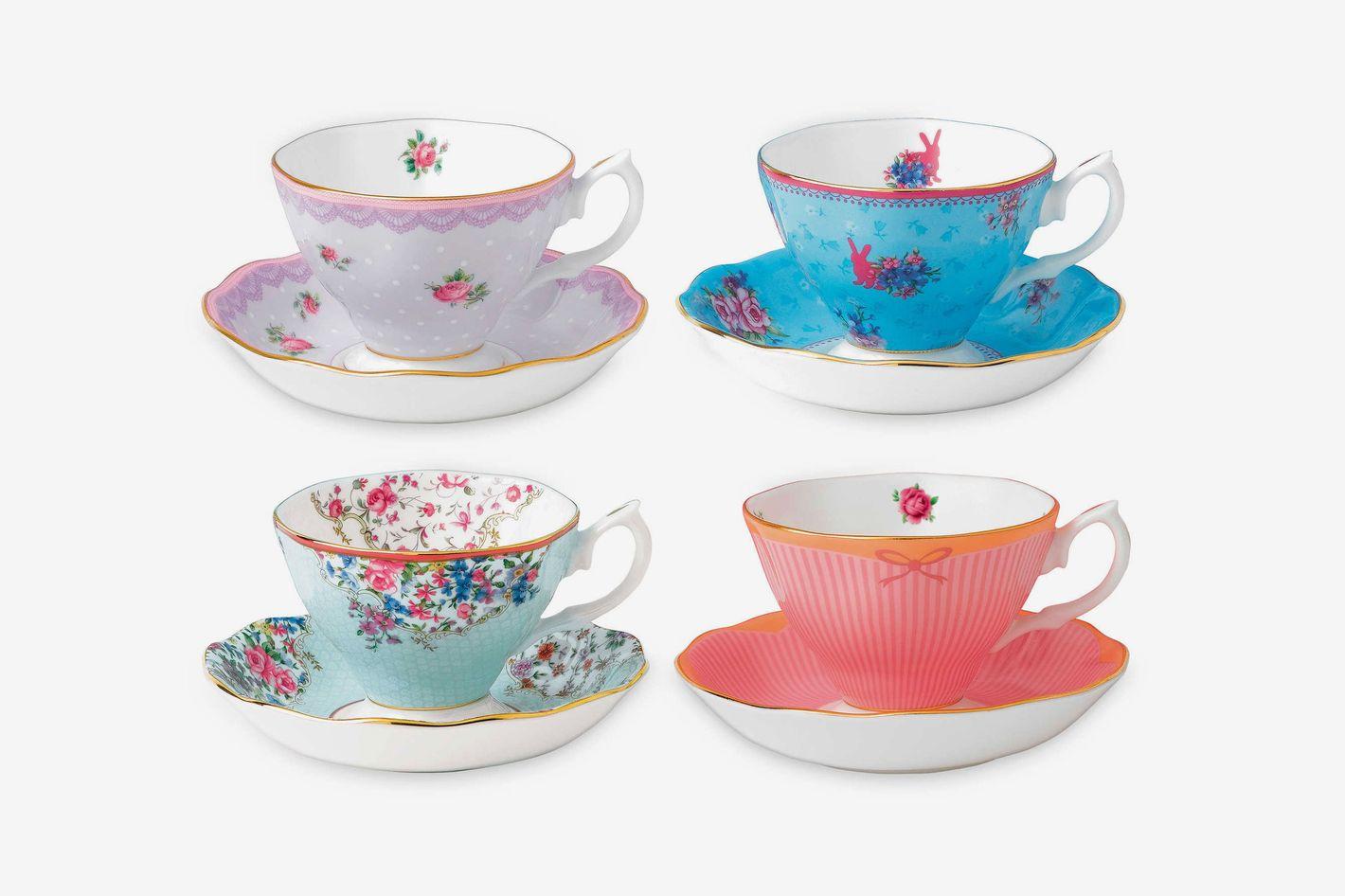 Royal Albert Candy Teacups and Saucers, (Set of 4)