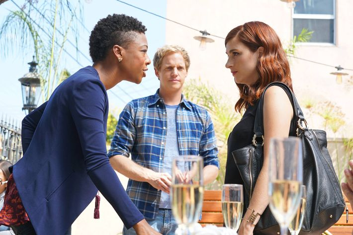 "YOU'RE THE WORST -- ""No Longr Just Us"" -- Episode 313 (Airs Wednesday, November 16, 10:30 pm e/p -- Pictured: (l-r) Samira Wiley as Justina, Chris Geere as Jimmy Shive-Overly, Aya Cash as Gretchen Cutler. CR: Byron Cohen/FX"
