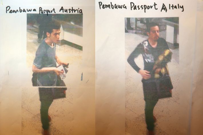 This composite of images #477770287 & #477770285 shows cctv imagery released by police of an Iranian suspect, Pouria Nour Mohammad Mehrdad, who was travelling on Flight MH370 with a stolen Austrian passport, (L) and an unindentified suspect who was travelling on Flight MH370 with a stolen Italian passport (R), on March 11, 2014 in Kuala Lumpur, Malaysia. Officials have expanded the search area for missing Malaysia Airlines flight MH370 to include more of the Gulf of Thailand between Malayisa and Vietnam and land along the Malay Pensinusula. The flight carrying 239 passengers from Kuala Lumpur to Thailand was reported missing on the morning of March 8 after the crew failed to check in as scheduled. Relatives of the missing passengers have been advised to prepare for the worst as authorities focus on two passengers on board travelling with stolen passports. (Photo by How Foo Yeen/Getty Images)