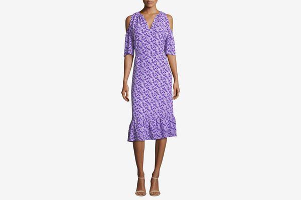 Michael Kors Cold Shoulder Flounce Dress