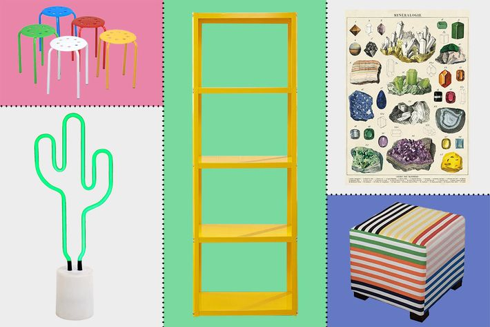 collage of sunnylife cactus neon light, sauder soft modern tower bookcase, cavallini & co mineralogie chart, and lilly + co upholstered ottoman - strategist best home decor and best colorful home decor