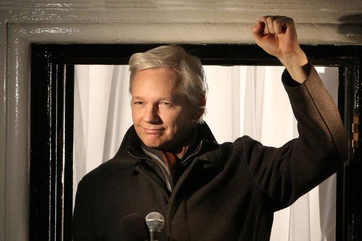 Wikileaks founder Julian Assange speaks from the Ecuadorian Embassy on December 20, 2012 in London, England.