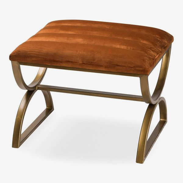 Hill 1975 Burnt Orange and Brass Ribbed Footstool