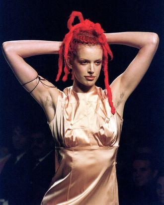 Sybil Buck on the Jean Paul Gauliter runway in 1995.