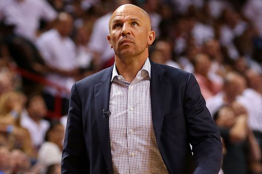 Jason Kidd of the Brooklyn Nets look on during Game Five of the Eastern Conference Semifinals of the 2014 NBA Playoffs against the Miami Heat at American Airlines Arena on May 14, 2014 in Miami, Florida.