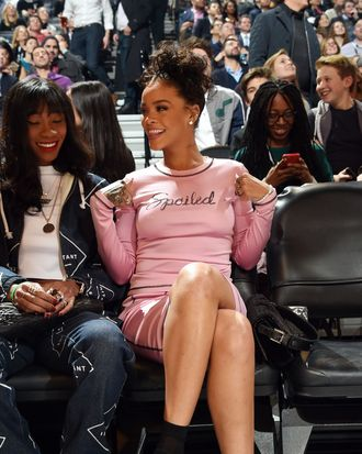 Rihanna labels herself, while attending the Foot Locker Three-Point Contest for the NBA All-Star Weekend.