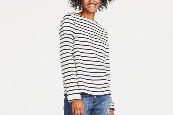 Uniqlo Striped Boatneck Long Sleeve T-shirt