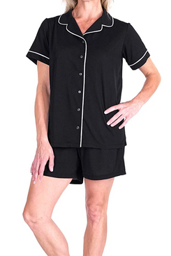 Cool-jams Moisture Wicking Short Sleeve Button Front Shorty Pajama Set