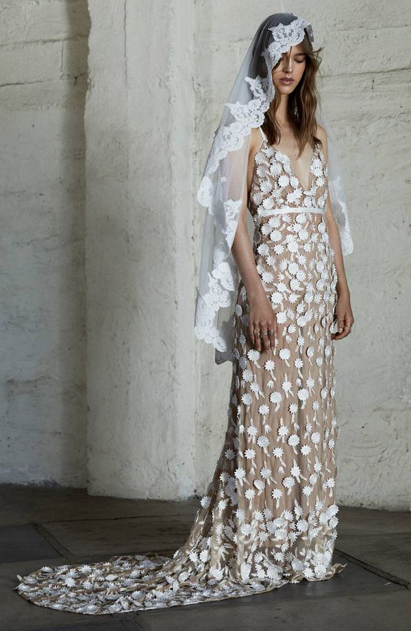FOR LOVE & LEMONS Marguerite Floral Petal Gown