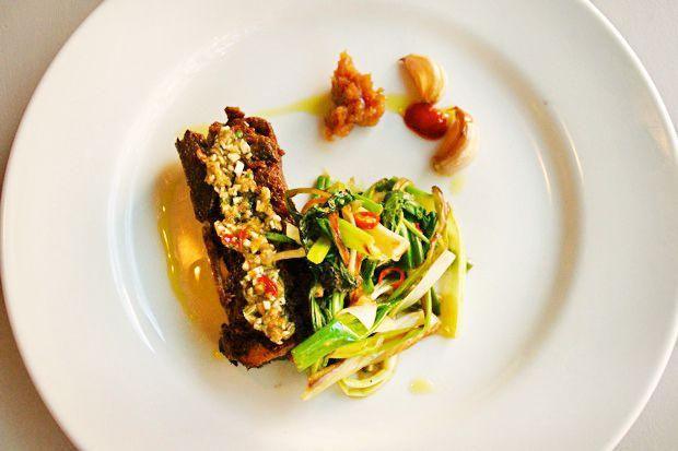 Alex Raij's slow-cooked lamb breast with horseradish.