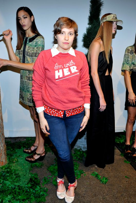 Lena Dunham attends the Rachel Antonoff presentation during Spring 2013 Mercedes-Benz Fashion Week at Drive In Studios on September 8, 2012 in New York City.