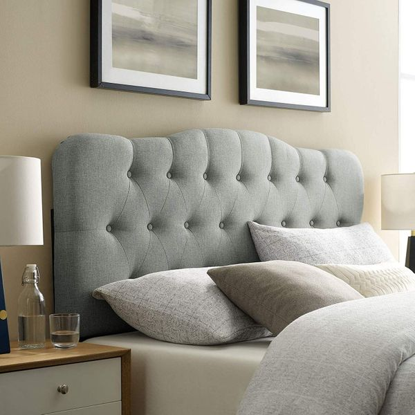 Modway Annabel Tufted Button Linen Fabric Upholstered Queen Headboard