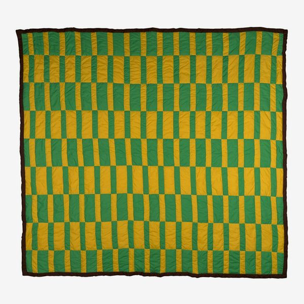 QuiltsByCaster Hand-Sewn Green and Yellow Basket-Weave Quilt