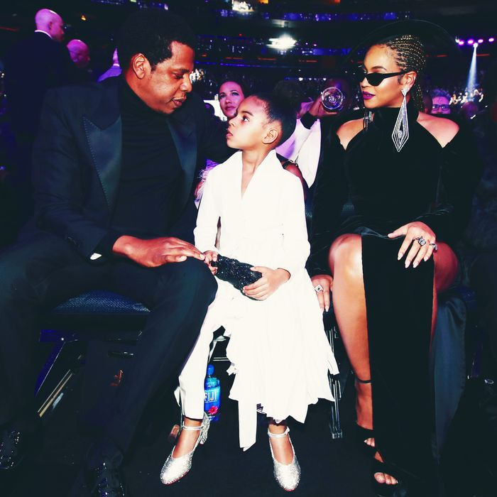 Jay-Z, Blue Ivy, and Beyonce at the 2018 Grammys.