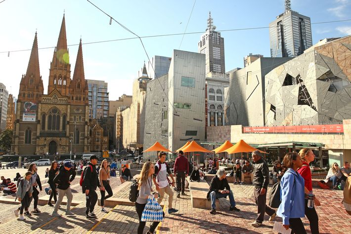 "<span class=""clay-designed kiln-phrase"">FEDERATION SQUARE</span><strong> </strong>Melbourne's iconic postmodern riverside mashup is where Kevin spots ""Evie"" looking in on the <em>Today</em>-show-style <em>G'Day Melbourne </em>near the top of episode four. Nailing down the site took Reilly a month of negotiations, which included relocating corporate events in the space for free (along with a ""gratuity"" for alcohol) and removing giant metal arrows that would have blocked the show's view onto the plaza."