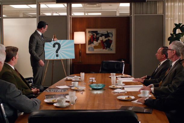 Roger Sterling (John Slattery), Ted Chaough (Kevin Rahm), Don Draper (Jon Hamm), representatives from Hershey and Jim Cutler (Harry Hamlin) - Mad Men _ Season 6, Episode 13 _ 'In Care of' - Photo Credit: Courtesy of AMC