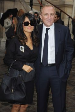 PARIS, FRANCE - SEPTEMBER 27:  Salma Hayek and Francois-Henri Pinault arrive at the Balmain Spring / Summer 2013 show as part of Paris Fashion Week at Grand Hotel Intercontinental on September 27, 2012 in Paris, France.  (Photo by Francois Durand/Getty Images)