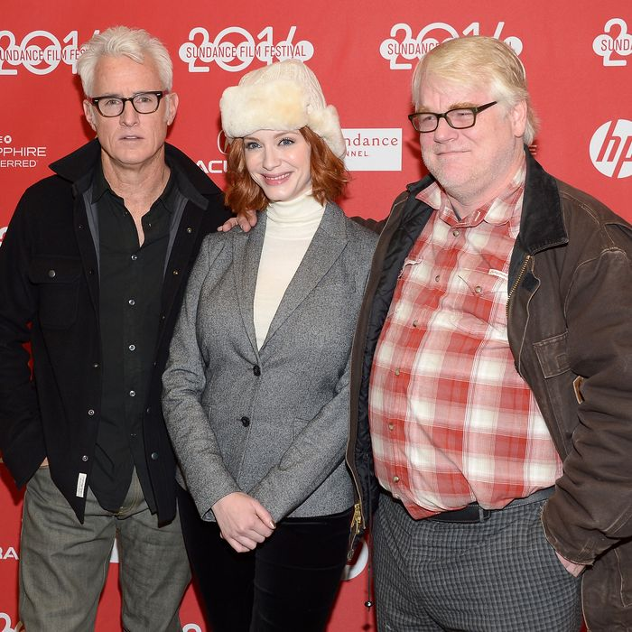 PARK CITY, UT - JANUARY 17: Director John Slattery, Christina Hendricks and Philip Seymour Hoffman attend the