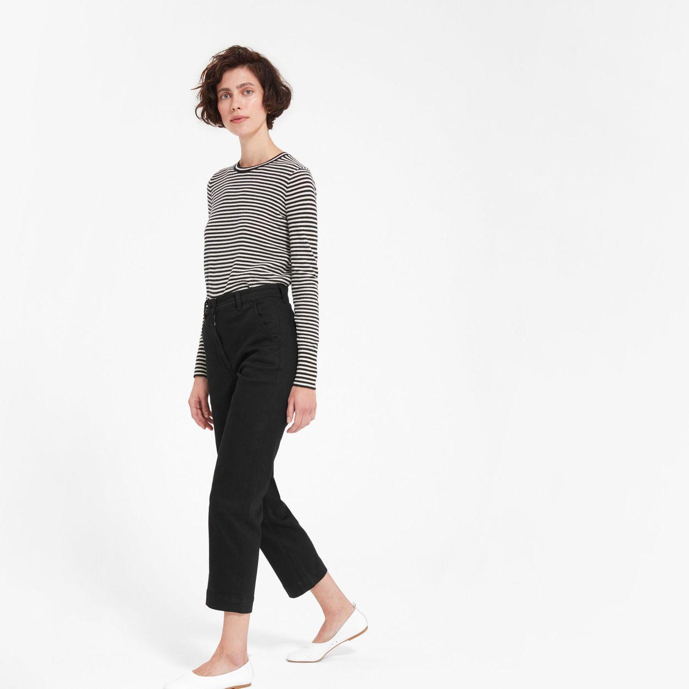Everlane Women's Straight Leg Crop Pant, Black