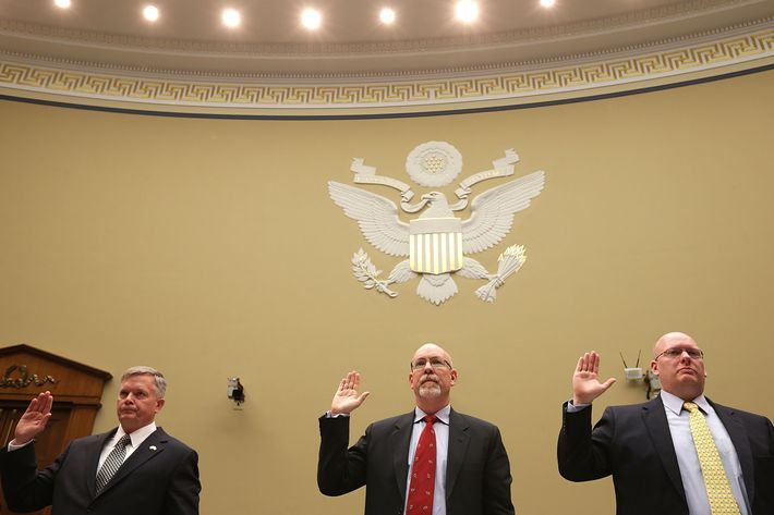"Acting Deputy Assistant Secretary of State for Counterterrorism Mark Thompson; State Department foreign service officer and former deputy chief of mission/charge d'affairs in Libya, Gregory Hicks; and State Department diplomatic security officer and former regional security officer in Libya, Eric Nordstrom, are sworn in before the House Oversight and Government Reform Committee during a hearing titled, ""Benghazi: Exposing Failure and Recognizing Courage"" in the Rayburn House Office Building on Capitol Hill May 8, 2013 in Washington, DC. Committee Chairman Darrell Issa (R-CA) is leading the GOP investigation of the Sept. 11, 2012, assaults that killed U.S. Ambassador J. Christopher Stevens and three other Americans, which is now focused on the State Department and whether officials there deliberately misled the public about the nature of the assault."