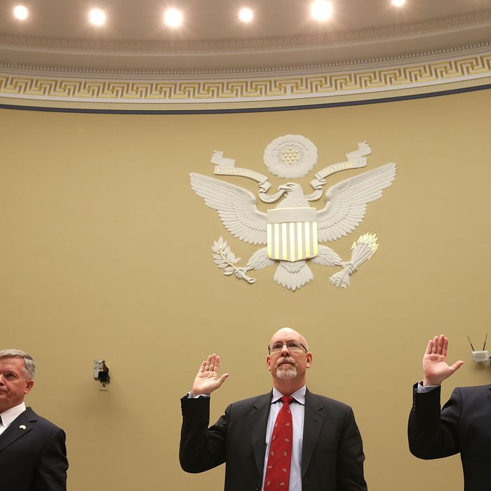 Acting Deputy Assistant Secretary of State for Counterterrorism Mark Thompson; State Department foreign service officer and former deputy chief of mission/charge d'affairs in Libya, Gregory Hicks; and State Department diplomatic security officer and former regional security officer in Libya, Eric Nordstrom, are sworn in before the House Oversight and Government Reform Committee during a hearing titled,