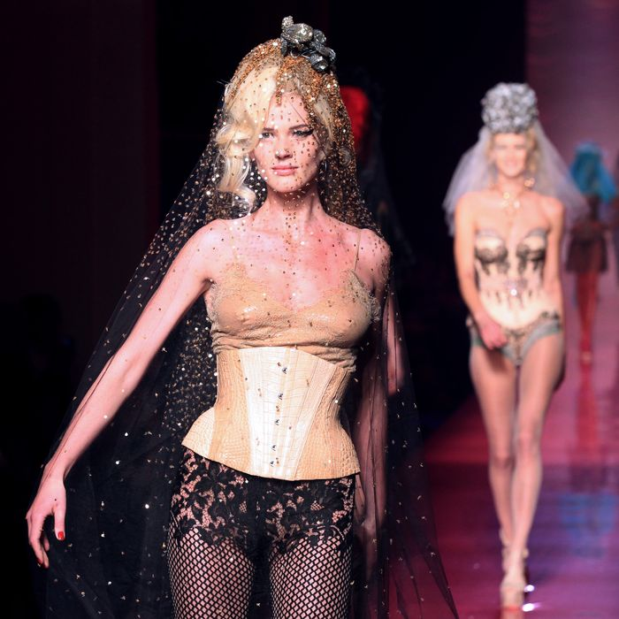 A model at Jean Paul Gaultier.