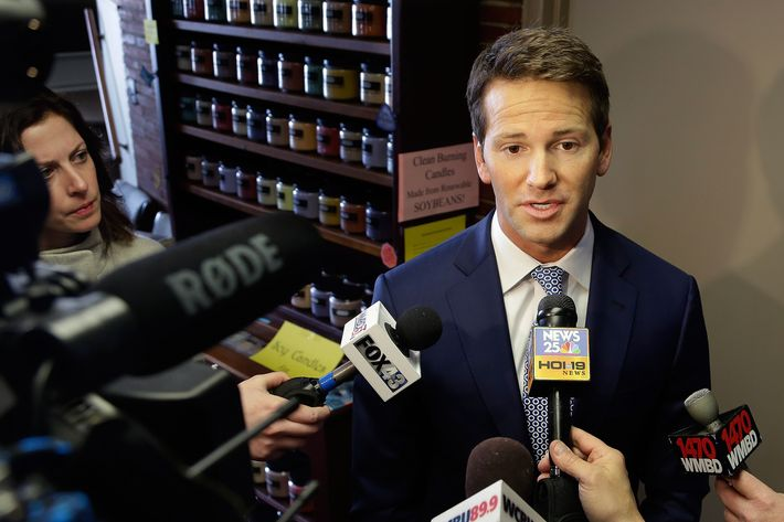 U.S. Rep. Aaron Schock speaks to reporters before meetings with constituents after a week in which he faced twin scandals Friday, Feb. 6, 2015, in Peoria Ill. A watchdog group has demanded a congressional ethics probe into how the central Illinois Republican paid for an elaborate, Downton Abbey-like design of his Washington office, and his communications director resigned after making racist comments on his Facebook page. (AP Photo/Seth Perlman)