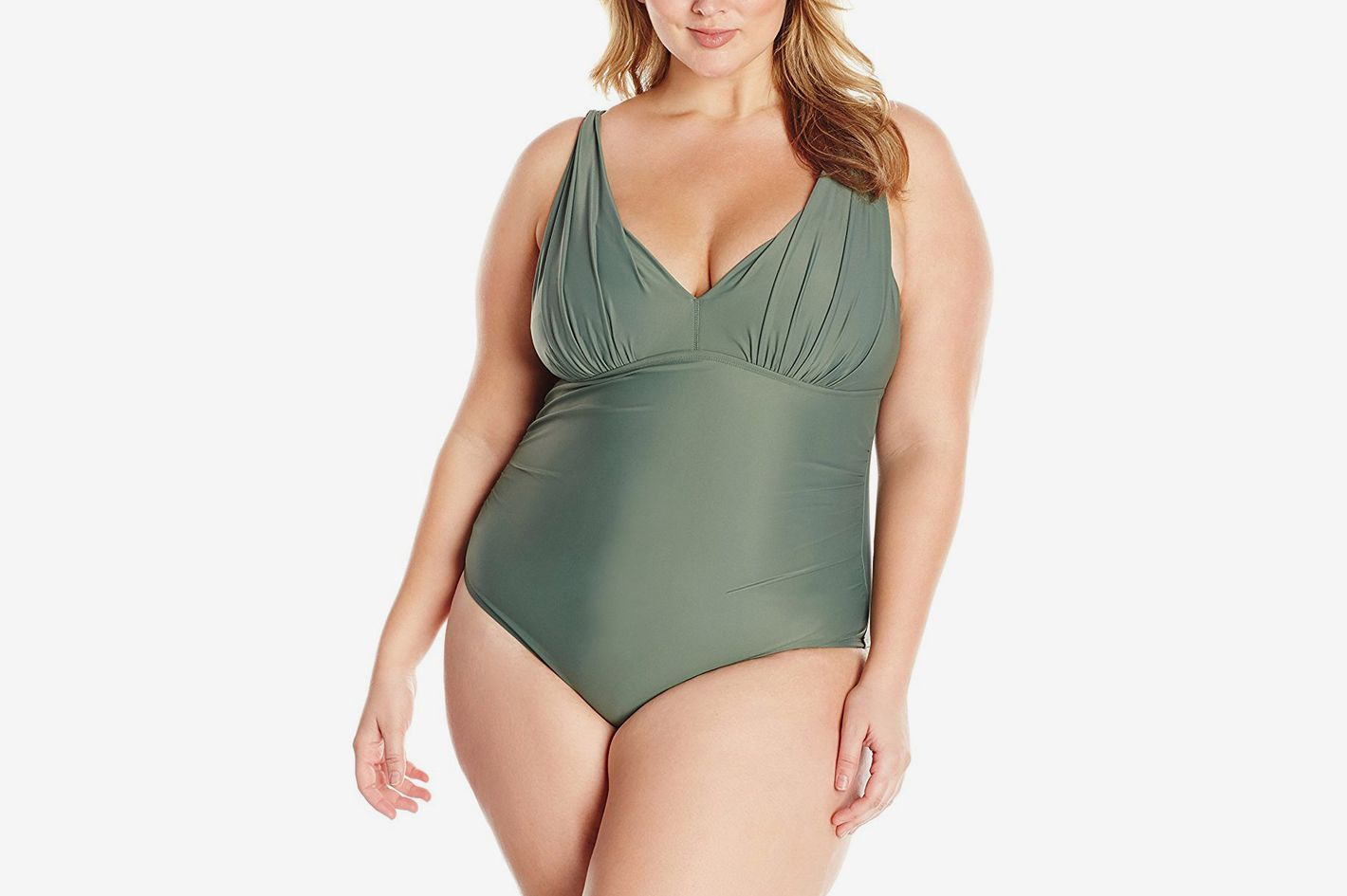 Coastal Blue Women's Plus Size Swimwear Shirred V-Neck One Piece Swimsuit
