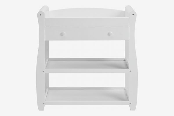 Babymore Sleigh Changer With Drawer, White