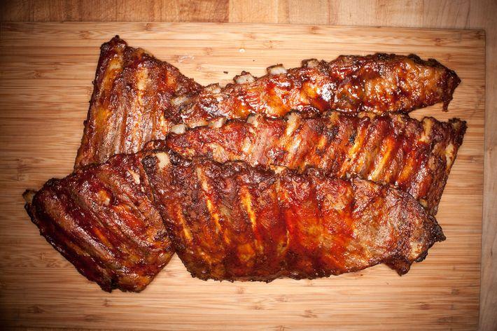 Pork spareribs smoked on the premises.