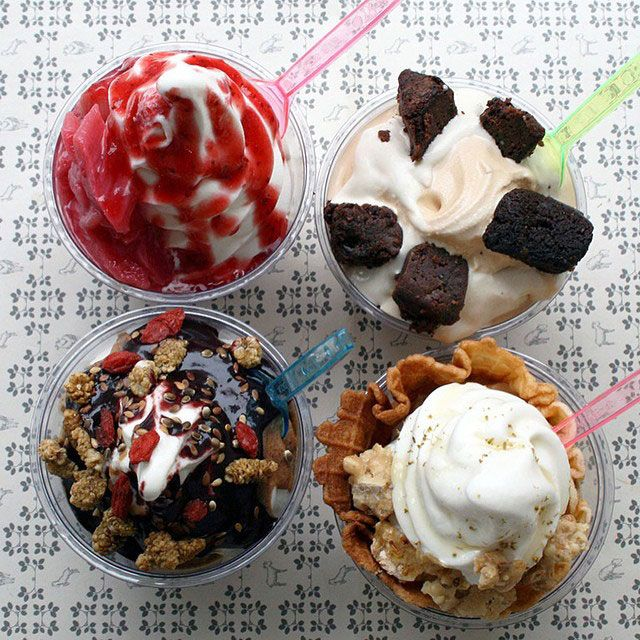 Victory Garden's new seasonal sundaes, made with goat's milk soft-serve.
