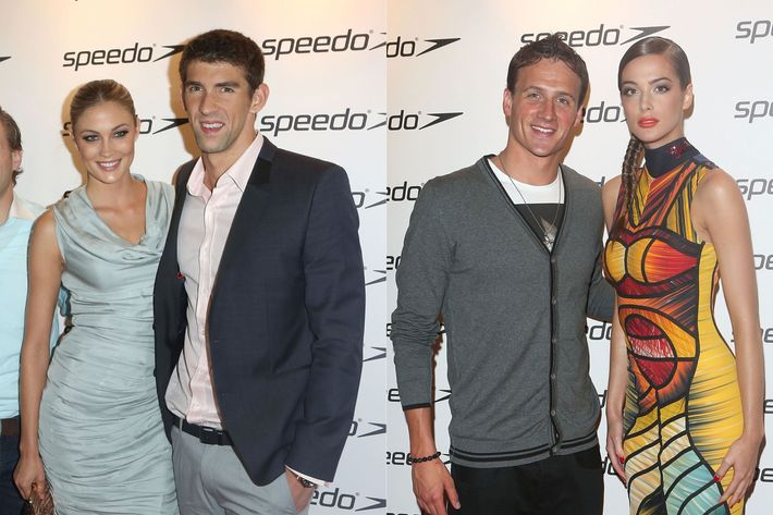 From left: Megan Rossee, Michael Phelps, Ryan Lochte, and Annabeth Murphy-Thomas.
